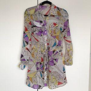 Geometric printed sheer shirt dress